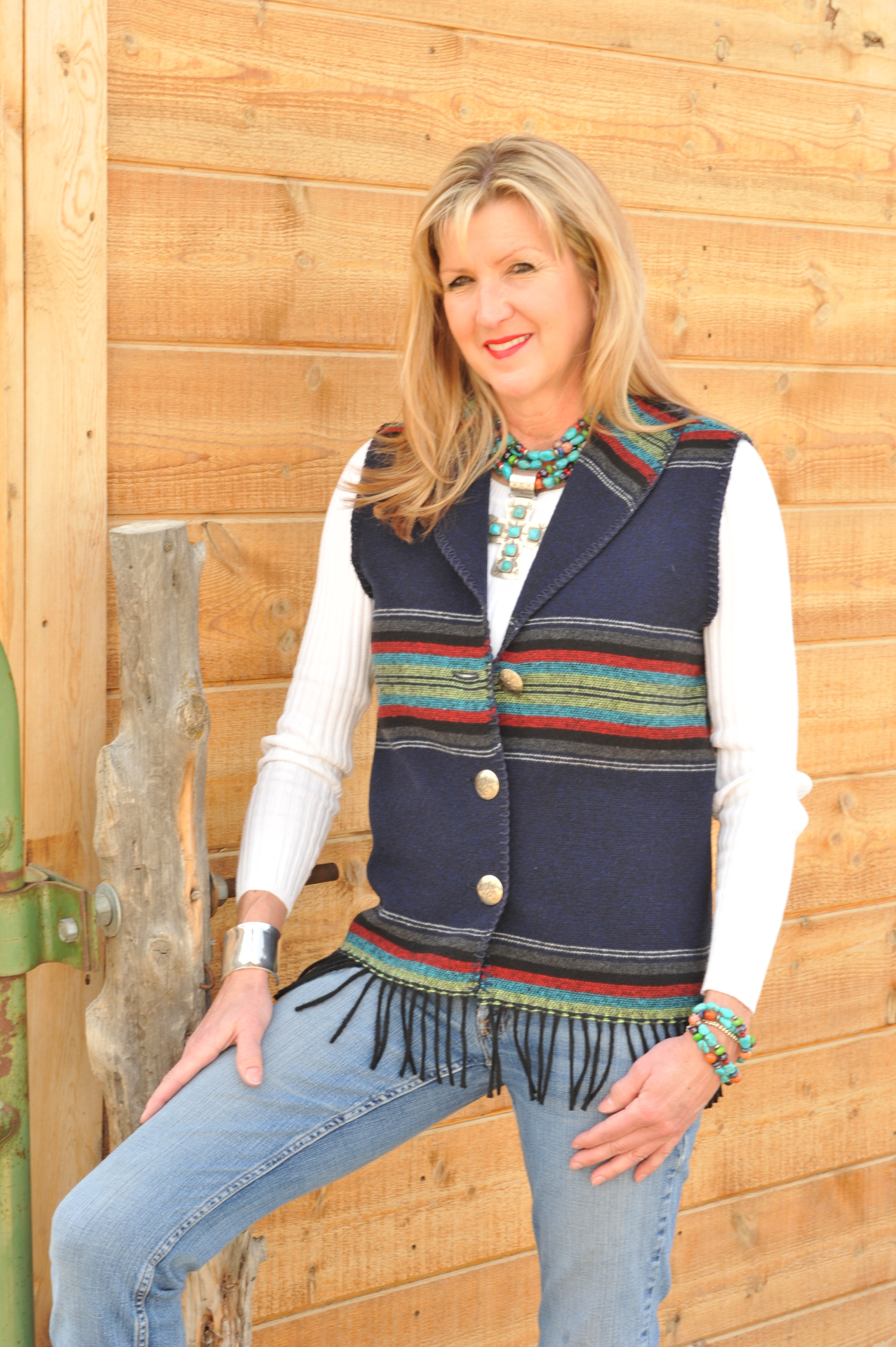 #131PNF - NAVY PADRE FRINGE SHAWL COLLAR VEST - WAS $84.95 -- SALE $42.48 -- SMALL ONLY!