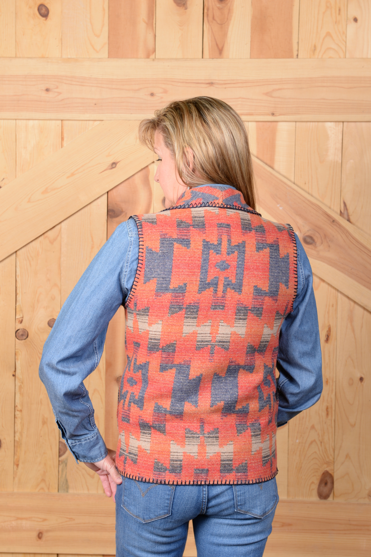 #130TBS - TONTO BIG SKY SHAWL COLLAR VEST - back