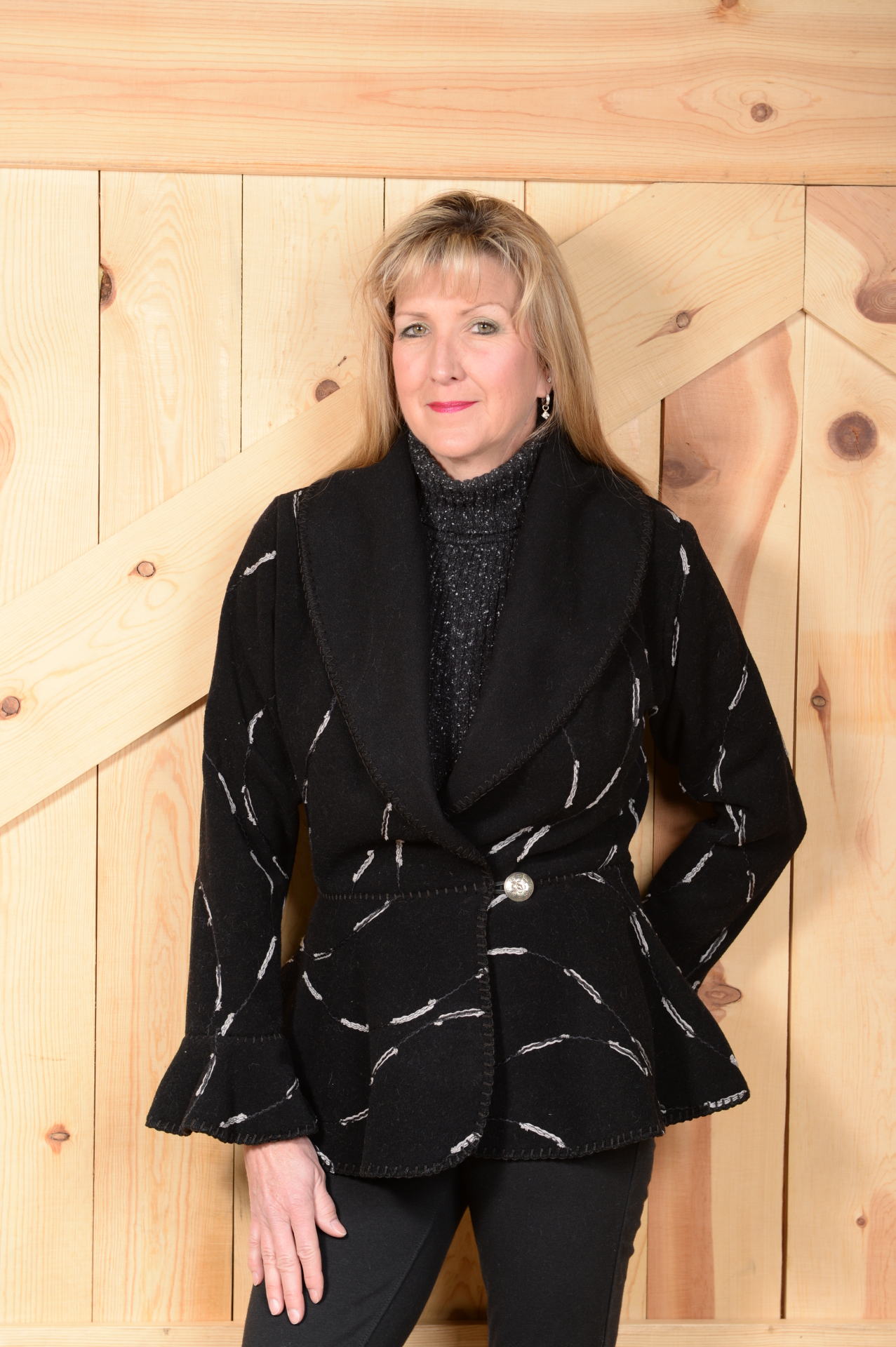 #845EB - BLACK EYELASH FLOUNCE JACKET  WAS $199.95      SALE $99.97