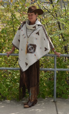 "#208PW - WHITE POCAHONTAS B.S. BUTTON COLLAR 30"" PONCHO - O/S - $129.95"