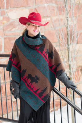 #208ML - MOOSE ON THE LOOSE BUTTON COLLAR PONCHO - $129.95