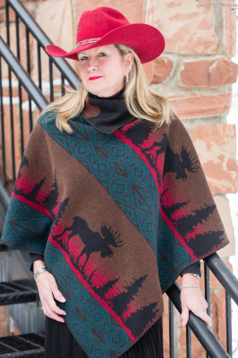 #228ML - MOOSE ON THE LOOSE KERCHIEF PONCHO O/S - $109.95