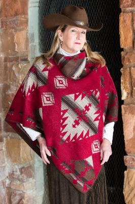 #228RB - RED BUTTE KERCHIEF PONCHO O/S - $109.95
