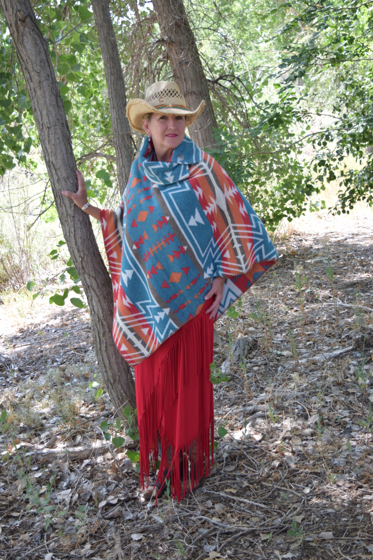 #208ZTL - TEAL ZUNI BUTTON COLLAR PONCHO - O/S - $129.95
