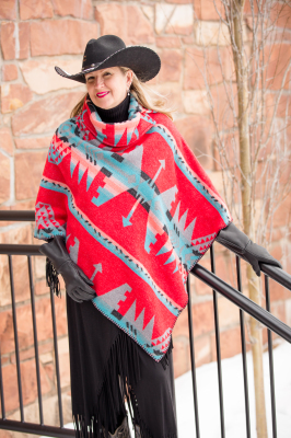 #208YM - YUMA BUTTON COLLAR PONCHO - $129.95