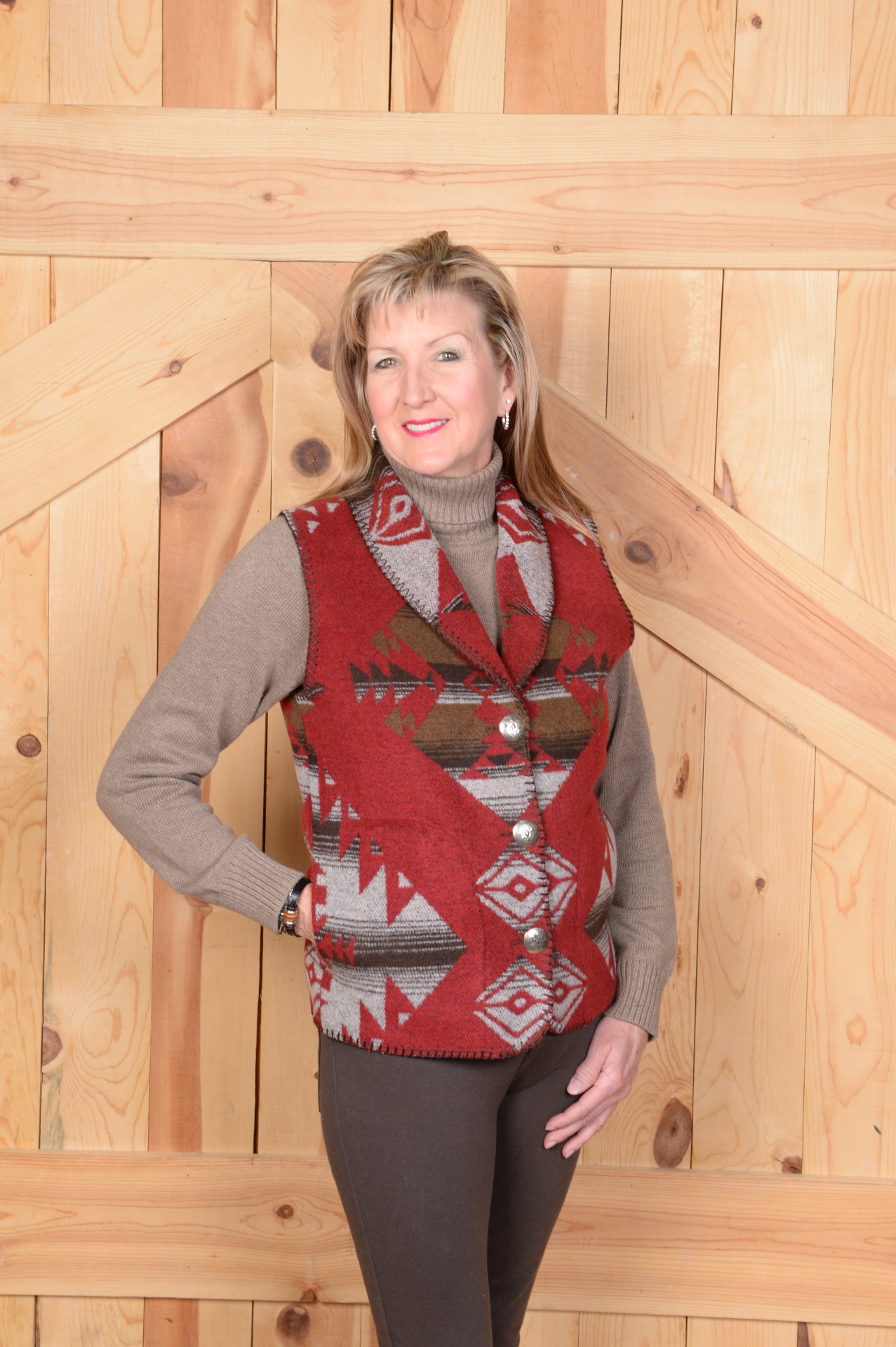 #130RB - RED BUTTE SHAWL COLLAR VEST  - XS - 2X -- $109.95