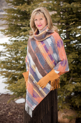 #208DSF - DESERT SUNSET FRINGE BUTTON COLLAR PONCHO - O/S -- $129.95