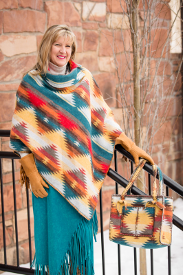 #208SD - SUNNY DAZE BUTTON COLLAR PONCHO - O/S -- $129.95