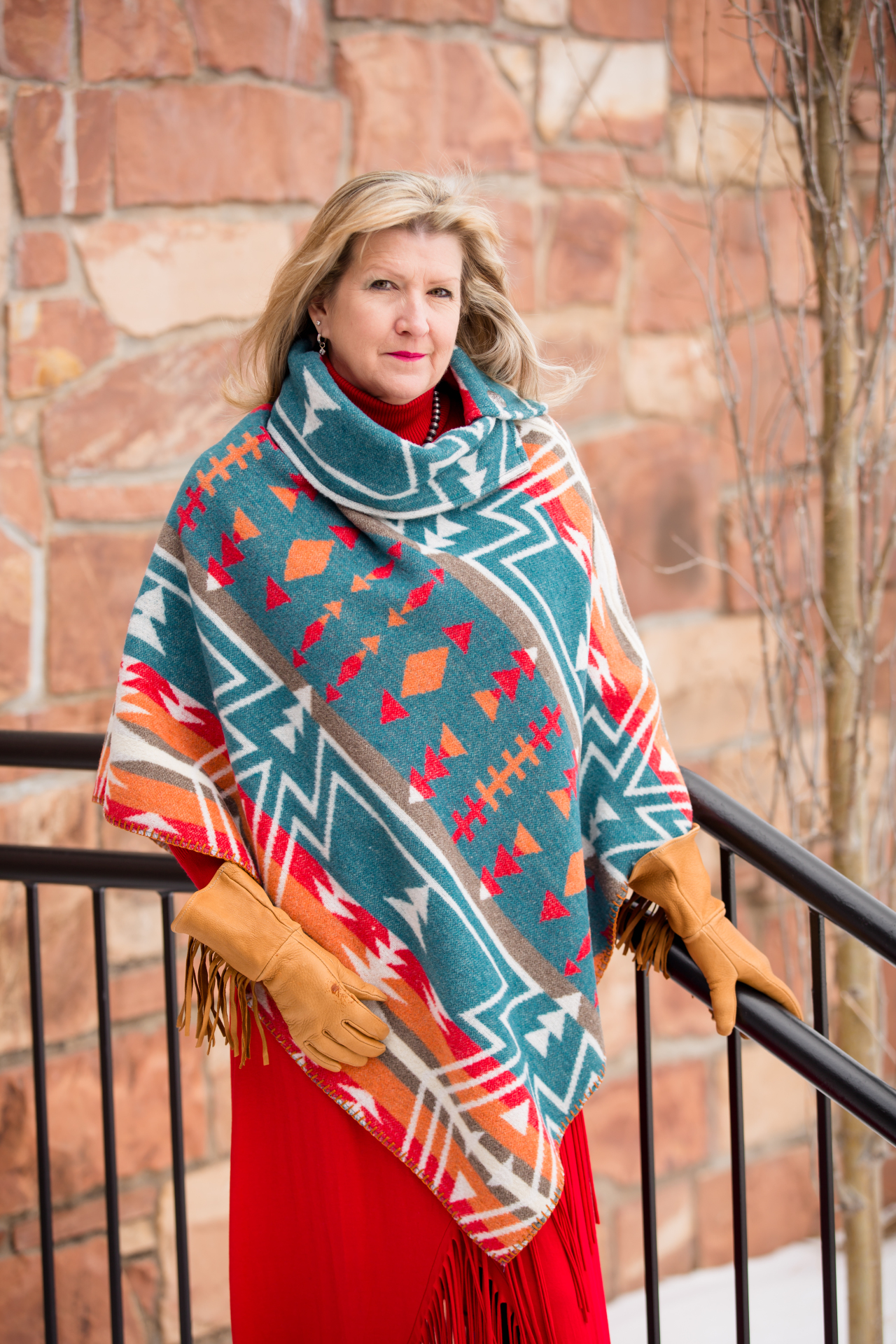 #208ZTL - TEAL ZUNI BUTTON COLLAR PONCHO - O/S -- FEBRUARY 2019