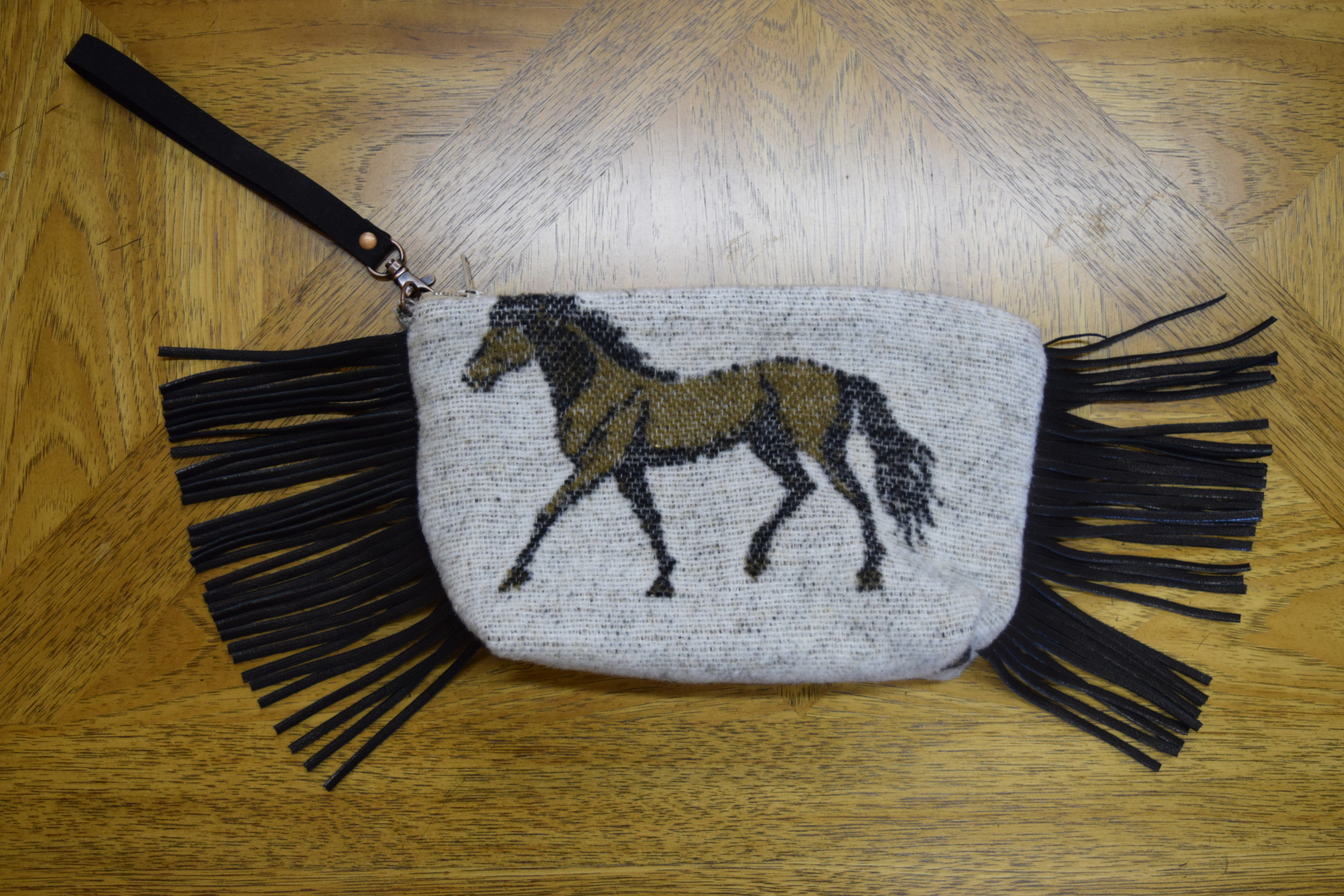 #B08HBO - OATMEAL HORSE BRANDS WRISTLET/CLUTCH - $89.95