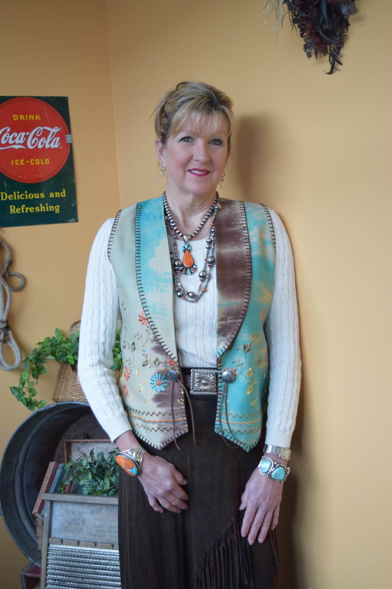 #115TG - TURQ. GYPSY EMBROIDERED SOUTHWEST VEST - XS - 2X -- $139.95