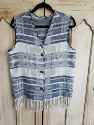 #121IVF - INDIGO VALLEY FRINGE V-VEST -- WAS $74.95 - SALE $37.48 -- SMALL ONLY!