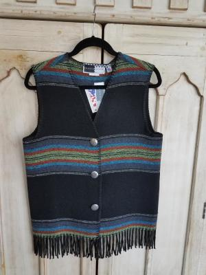 #121PBF - BLACK PADRE FRINGE V-VEST - WAS $74.95 -- SALE $37.48 - SMALL ONLY!