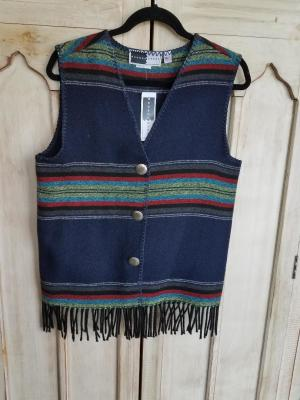 #121PNF - NAVY PADRE FRINGE V-VEST -- WAS $74.95 - SALE $37.48 -- SMALL ONLY!