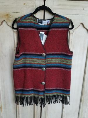 #121PRF - RED PADRE FRINGE V-VEST - WAS $74.95 -- SALE $37.48 -- SMALL ONLY!