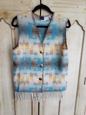 #121TSF - TURQ. SKY FRINGE V-VEST -- WAS $74.95 - SALE $37.48 -- SMALL ONLY