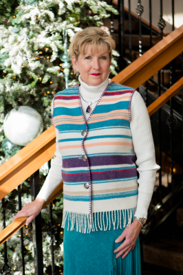 #121PM - PIMA COTTON STRIPE FRINGE V-VEST - WAS $74.95 -- SALE $37.48 -- ALL SIZES AVAILABLE!