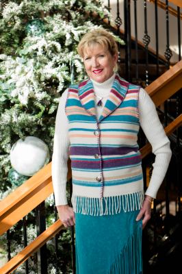 #131PM - PIMA COTTON STRIPE FRINGE SHAWL COLLAR VEST - WAS $84.95 -- SALE $42.48 -- ALL SIZES AVAILABLE!