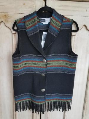 #131PBF - BLACK PADRE FRINGE SHAWL COLLAR VEST - WAS $84.95 -- SALE $42.48 -- SMALL ONLY!