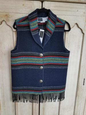 #131PNF - NAVY PADRE FRINGE SHAWL COLLAR VEST -- WAS $84.95 -- SALE $42.48 -- SMALL ONLY!