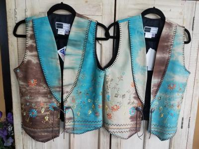#115TG - TURQ. GYPSY (tie dye) EMBROIDERED SOUTHWEST VEST. $139.95