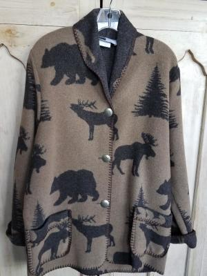#875ASST-WL - BROWN WILDLIFE CAR COAT - $179.95 -- OUTLET SALE $50!  SMALL ONLY!