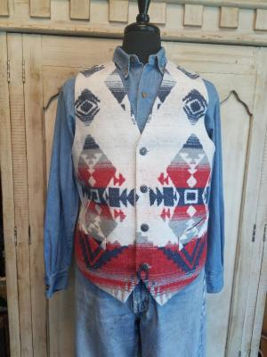 #M150AM - AMERICANA MEN'S VEST - Each vest pattern may vary.  Americana is a VERY LARGE pattern repeat.