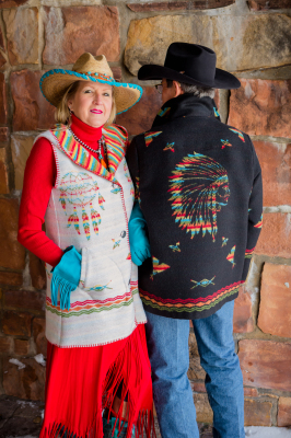 #H160IDW - WHITE INDIAN DREAMS HOODED LONG A-LINE VEST & #M858IDB - BLACK INDIAN DREAMS - BK