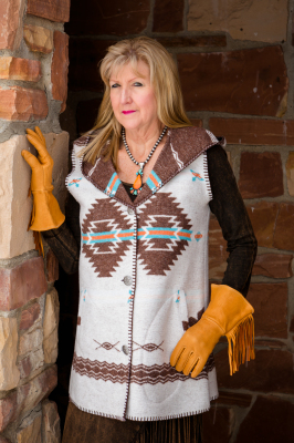 #H160PW - WHITE POCAHONTAS HOODED LONG A-LINE VEST - XS-2X -- $179.95