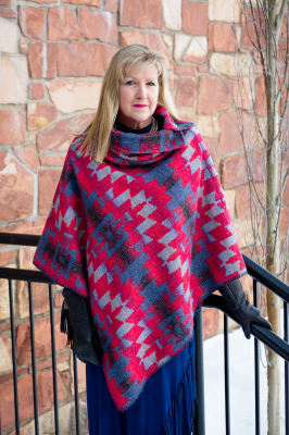 #208AS - APACHE SKY BUTTON COLLAR PONCHO - O/S - $129.95