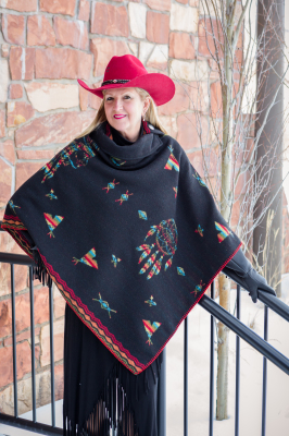 #208IDB - BLACK INDIAN DREAMS BUTTON COLLAR PONCHO - O/S -- $129.95