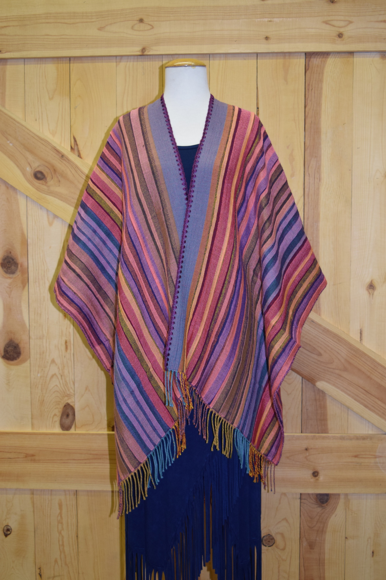 #100S - COL. 04 - PINK SERAPE STRIPE w/ purple stitch - O/S - $169.95