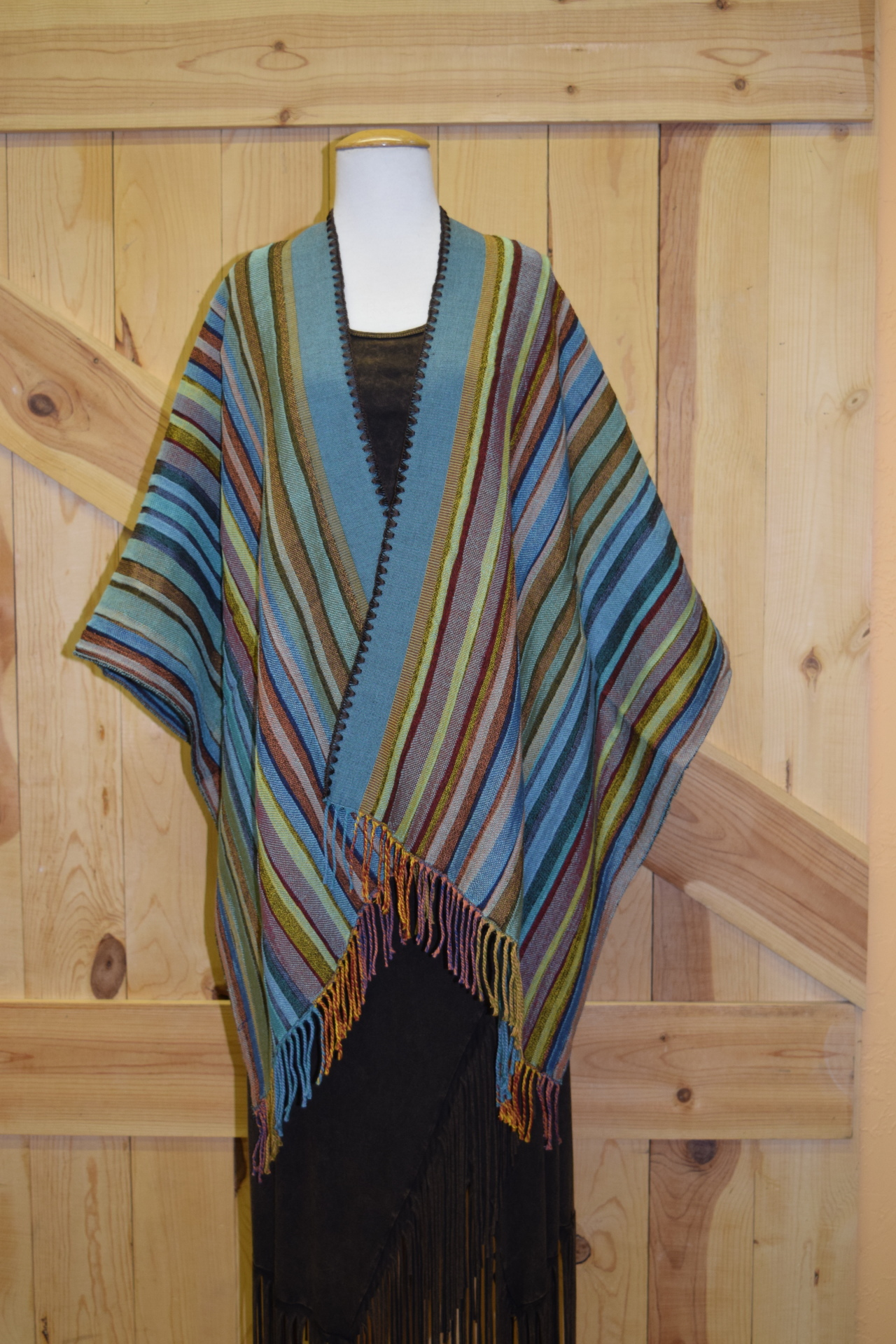 #100S - COL. 05 - JADE SERAPE STRIPE w/ brown stitch - O/S - $169.95