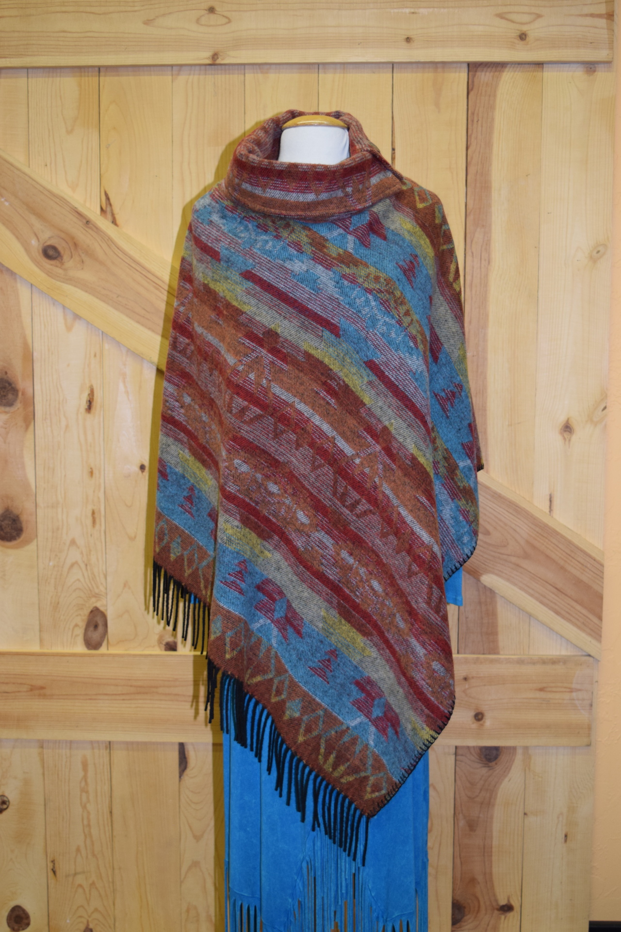 #208ASST. RUST SF FRINGE BUTTON COLLAR PONCHO - WAS $129.95 -- SALE $99.95