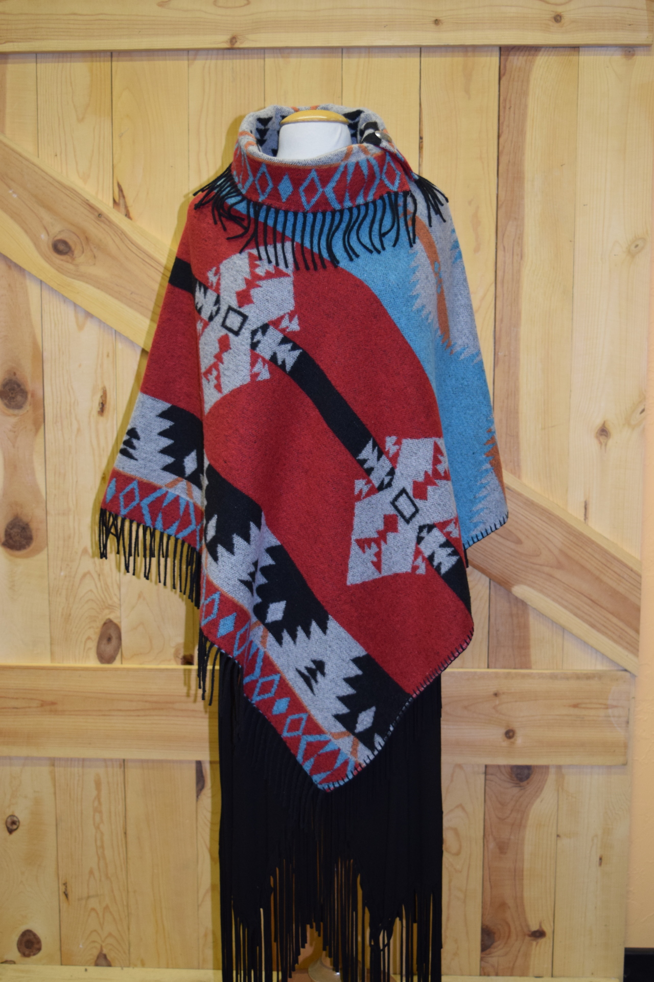 #208F- RRF - RED RANGER FRINGE BUTTON fringe COLLAR PONCHO - O/S - $149.95