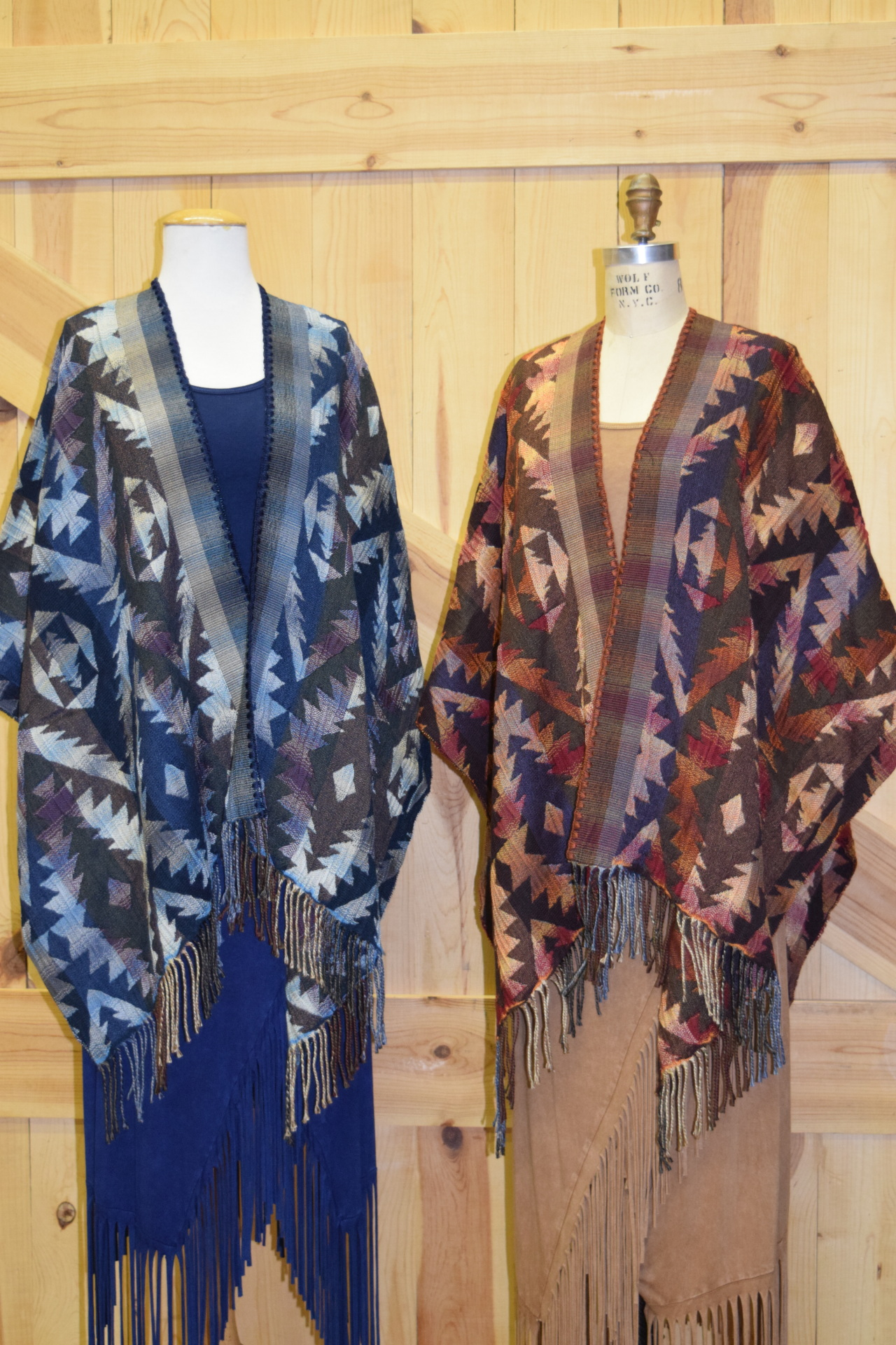 NEW!  #100A - AZTEC ITALIAN CAPES.  Colors:  Ocean & Adobe - O/S - $169.95