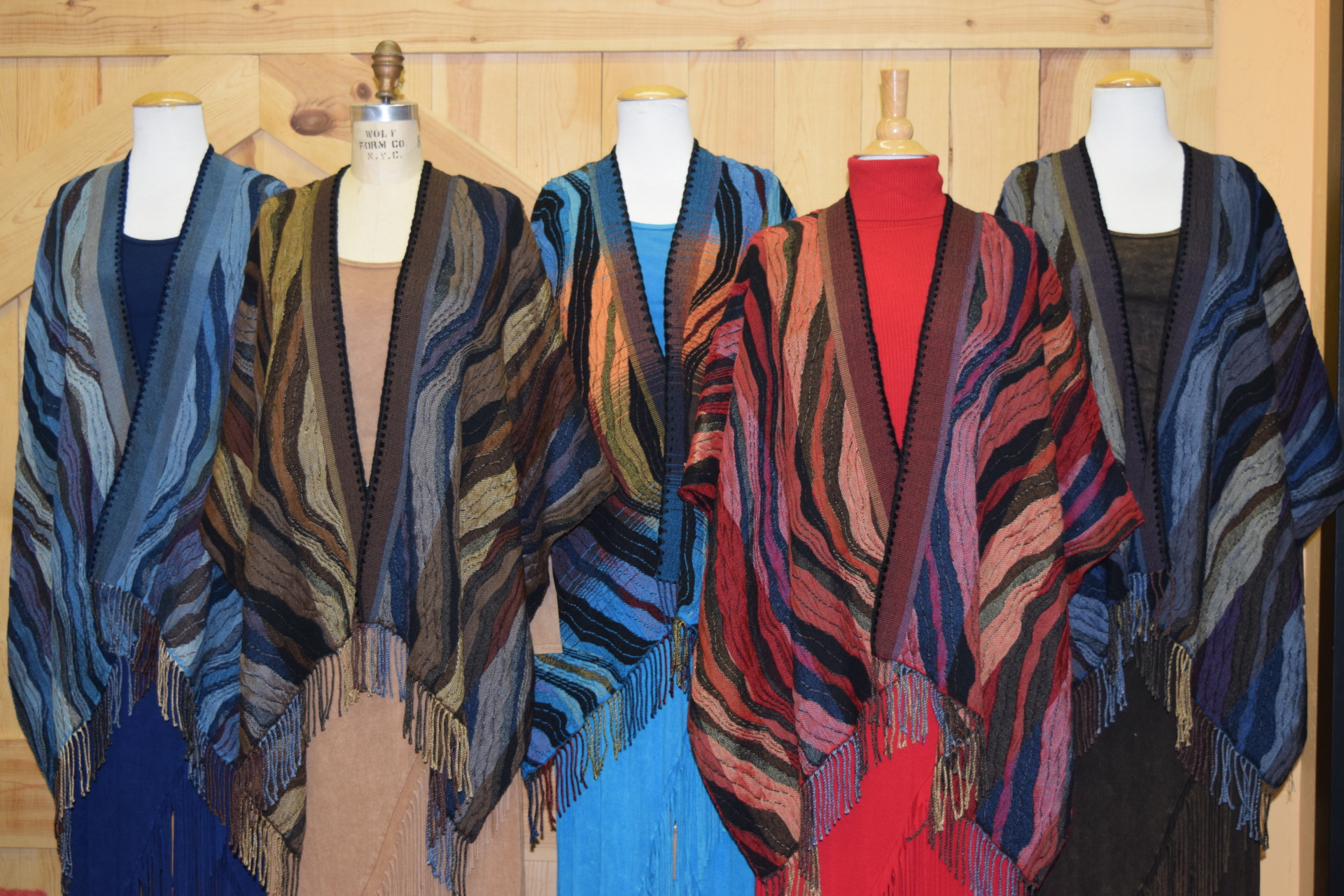 #100W - WAVE ITALIAN CAPES. Colors:  OCEAN, CAPPUCCINO, TURQUOISE, LIPSTICK RED & MIDNIGHT.  O/S - $169.95